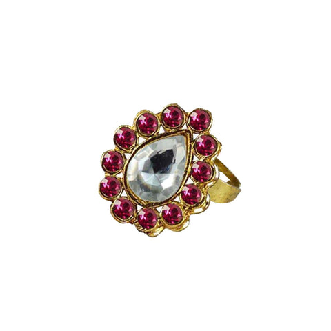 Multi Color Brass Stone Stud Gold Platted Ring - rin203