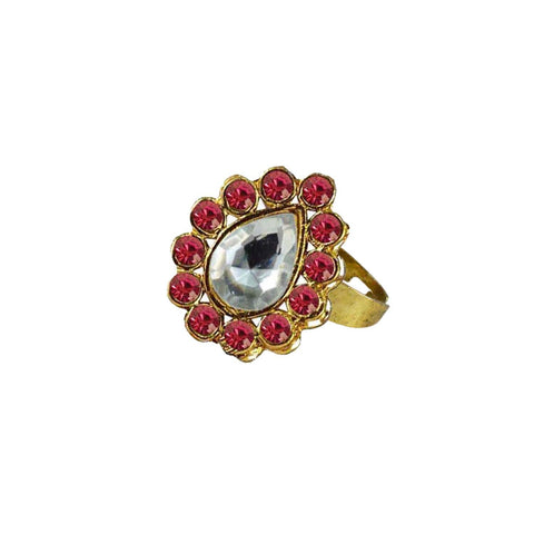 Multi Color Brass Stone Stud Gold Platted Ring - rin204