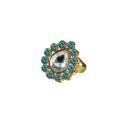 Multi Color Brass Stone Stud Gold Platted Ring - rin205