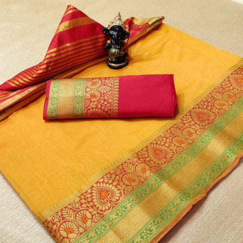 Dark Yellow Color Cotton Women's Saree - s-1077