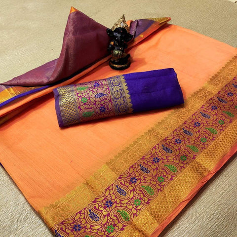 Orange Color Cotton Women's Saree - s-1177