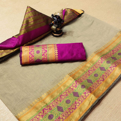 Grey Color Cotton Women's Saree - s-1277