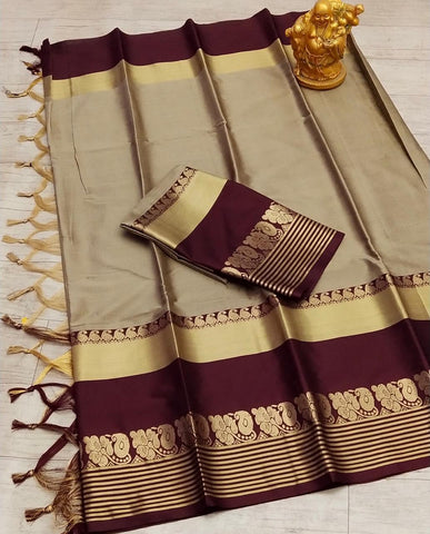 Cream Color Silk Women's Saree - s-128
