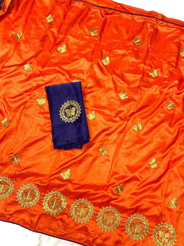 Orange Color Sana Silk Women's Saree - s-2144