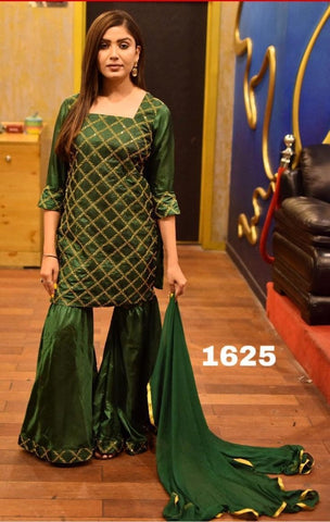 Green Color Silk Women's Semi-Stitched Kurti with Sarara - s-222
