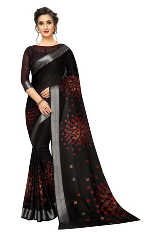 Maroon Black Color Silk Women's Saree - s-228