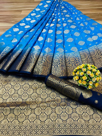 Sky Blue Color Nylon Silk Women's Saree - s-267