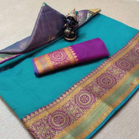 Blue Color Cotton Women's Saree - s-277