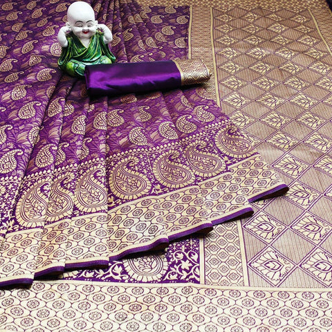 Purple Color Weaving Jecquard Women's Saree - s-286