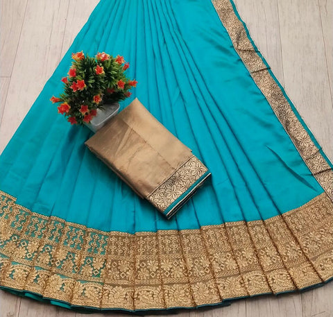 Sky Blue Color Silk Women's Saree - s-28
