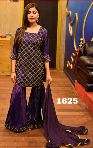 Purple Color Silk Women's Semi-Stitched Kurti with Sarara - s-322