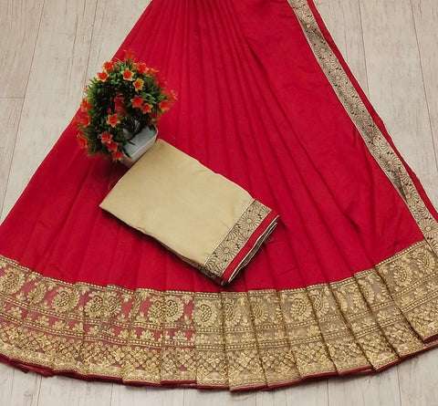 Rani Pink Color Silk Women's Saree - s-38