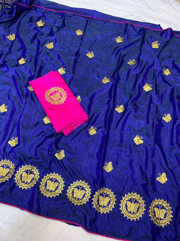 Navy Blue Color Sana Silk Women's Saree - s-4144
