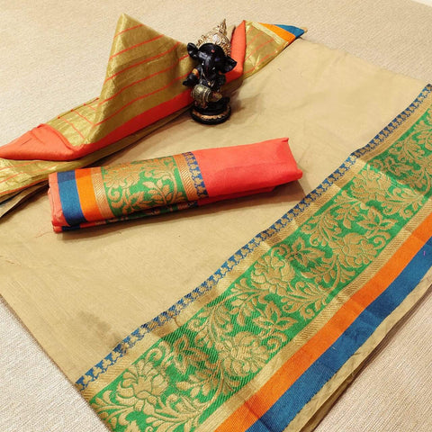 Cream Color Cotton Women's Saree - s-477