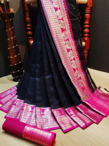 Black Color Doriya Rich Women's Saree - s-556