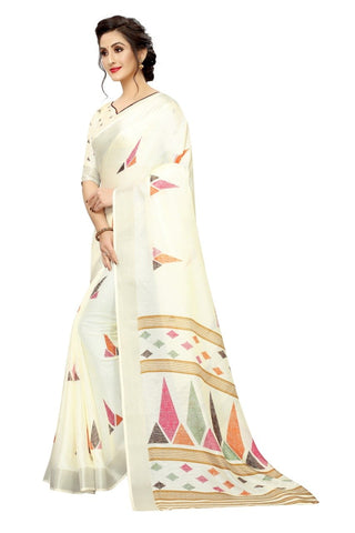 Off White Color Silk Women's Saree - s-628