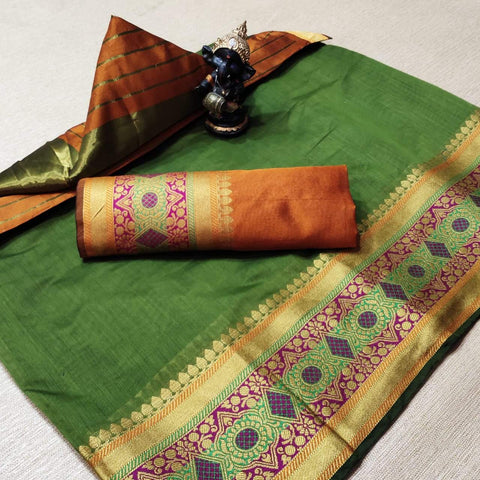 Green Color Cotton Women's Saree - s-677