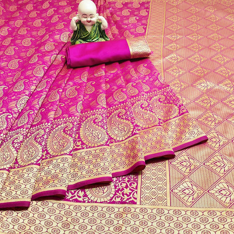 Rani Pink Color Weaving Jecquard Women's Saree - s-686