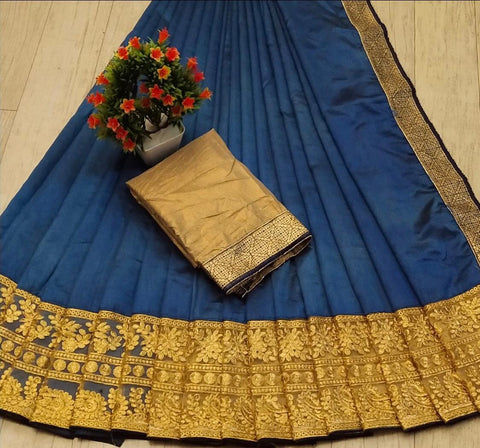 Navy Blue Color Silk Women's Saree - s-68