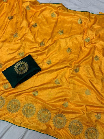 Yellow Color Sana Silk Women's Saree - s-7144