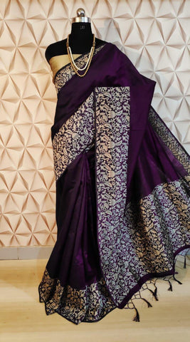 Purple Color Silk Women's  Saree - s-751