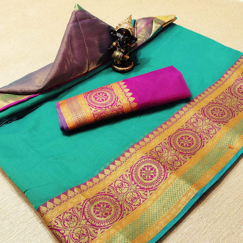 Sky Blue Color Cotton Women's Saree - s-777