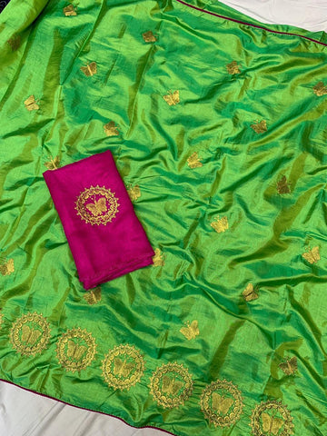 Pista Color Sana Silk Women's Saree - s-8144