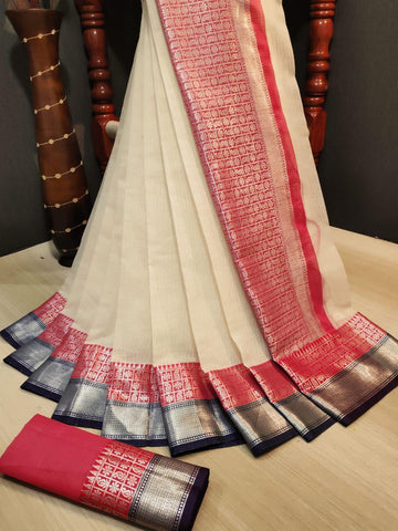 White Color Doriya Rich Women's Saree - s-856