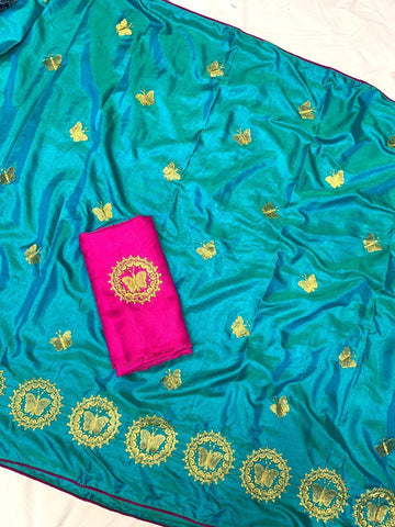 Royal Blue Color Sana Silk Women's Saree - s-9144