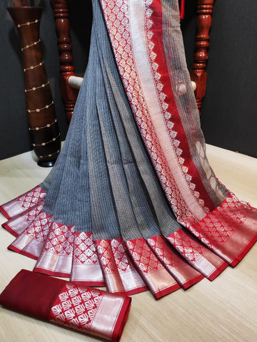 Grey Color Doriya Rich Women's Saree - s-956