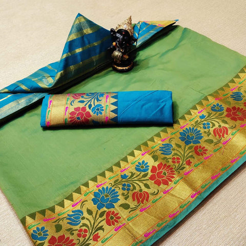 Green Color Cotton Women's Saree - s-977