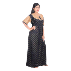 Black Color Cotton Women's V Neck Nighty - NW0228_BL