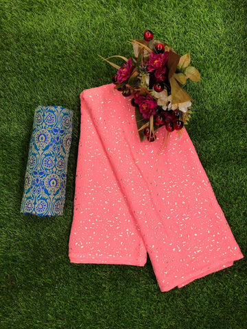 Pink Color Marbel Mil Foil Women's Saree - sa-58