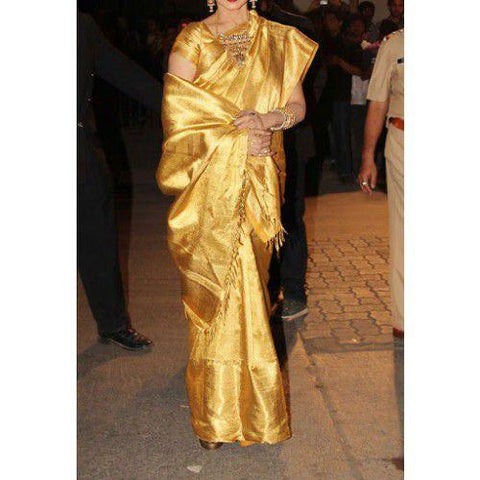 Gold Color Chanderi Silk Saree - sahaanaa022