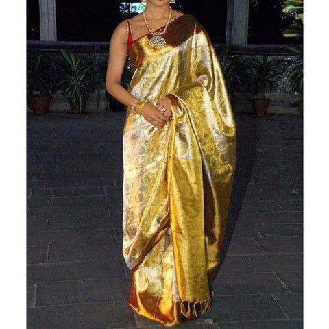 Golden Color Rayon Saree - sahaanaa176