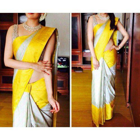 Grey and Yellow Color ArtSilk Saree - sahaanaa182