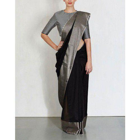 Black Color Silk Saree - sahaanaa299