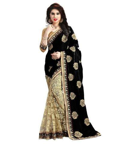 Black Color Georgette Women's Saree - sari-563black