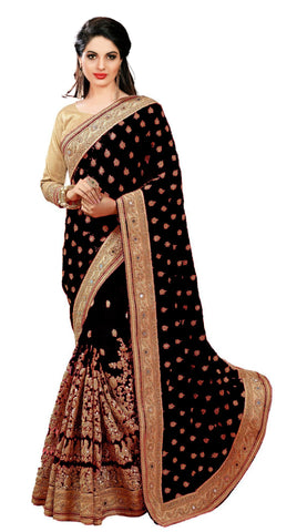 Black Color Dupion Silk Women's Saree - sari-579black