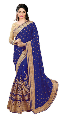 Blue Color Dupion Silk Women's Saree - sari-579blue