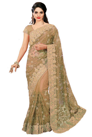 Beige Color Net Women's Saree - sari-598beige