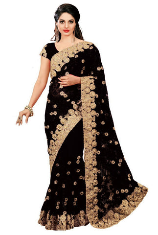 Black Color Net Women's Saree - sari-598black