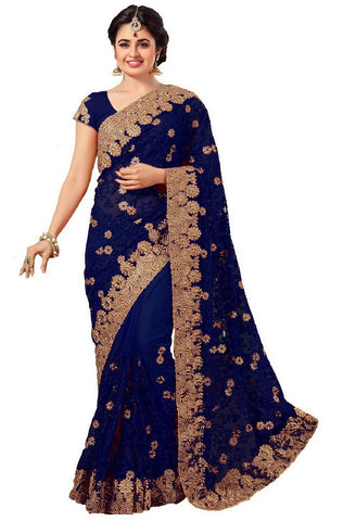 Blue Color Net Women's Saree - sari-598blue
