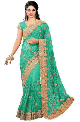 Green Color Net Women's Saree - sari-598green