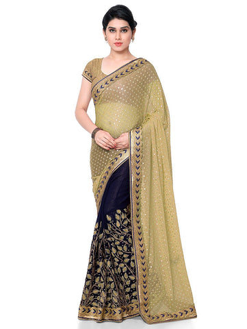 Beige Color Lycra Women's Saree - sari-660beige