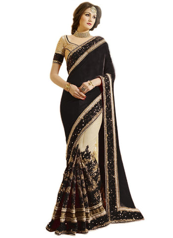 Black Color Satin Women's Saree - sari-663black