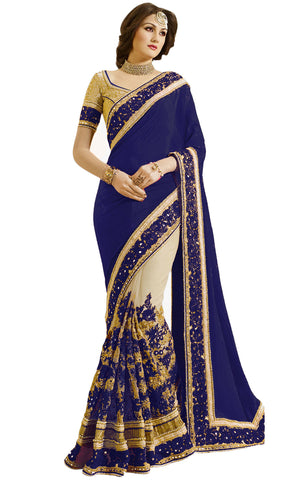 Blue Color Satin Women's Saree - sari-663blue