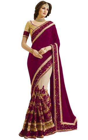 Purple Color Satin Women's Saree - sari-663purple