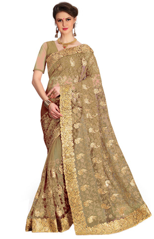 Beige Color Net Women's Saree - sari-675beige