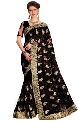 Black Color Net Women's Saree - sari-675black
